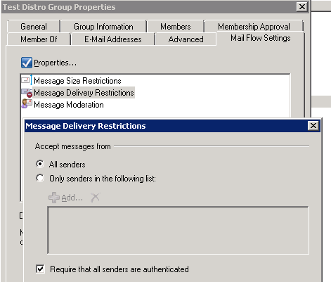 Message Delivery Restrictions