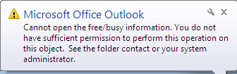 Cannot open the free/busy information...