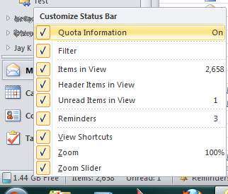 Adding your mailbox quota information to Outlook's status bar.