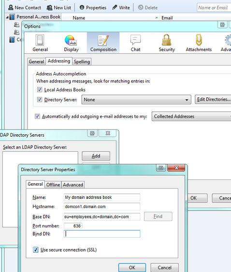 Adding an LDAP address book to Thunderbird
