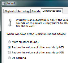 Reduce or mute other sounds on your computer when you receive a call in Lync.