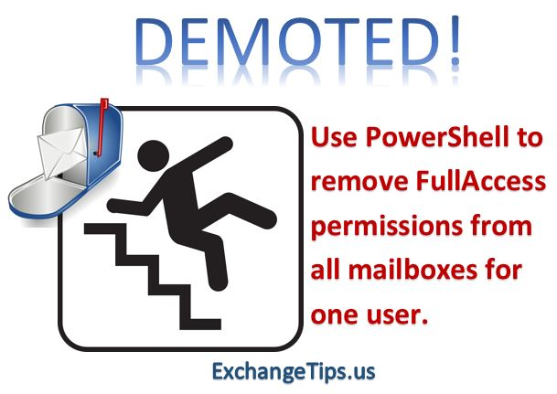 Use PowerShell to remove FullAccess permissions from all Exchange 2010 mailboxes for one user or group.