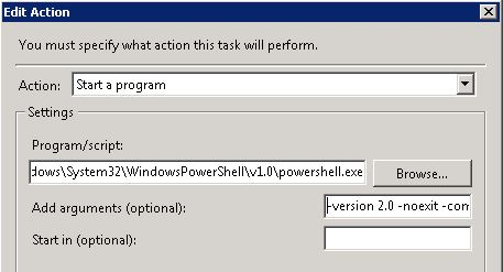 Scheduling an Exchange 2010 PowerShell script via Task Scheduler