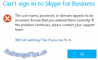 Can't sign in to Skype for Business