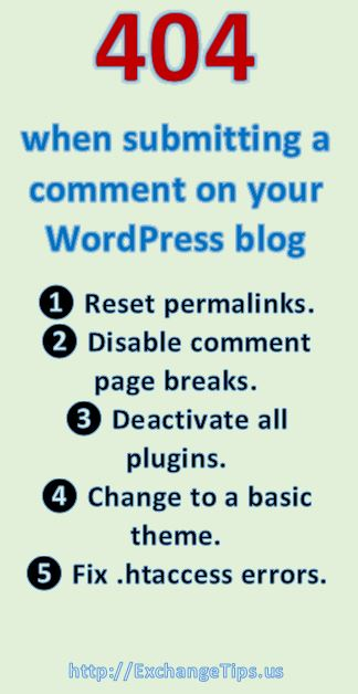 Try these steps to fix a 404 Page Not Found error when submitting comments on your WordPress blog.