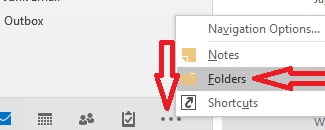 Switch Outlook to Folders view