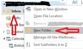 Create a new folder in Outlook
