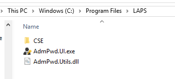 The LAPS GUI and client extension installs under Program Files.