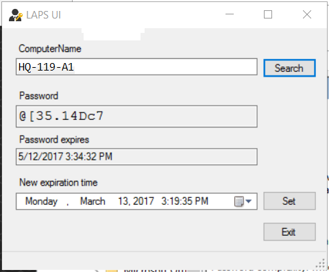 Retrieve a workstation administrator account password using the LAPS admin GUI.