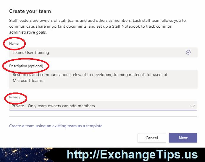 Creating a new Microsoft Team.