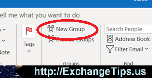 One of several locations in Outlook to create a new Office 365 Group