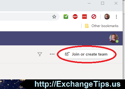 """To create a Microsoft Team from any web browser (https://teams.microsoft.com) or the desktop app, click """"Join or create team"""" in the upper right corner."""